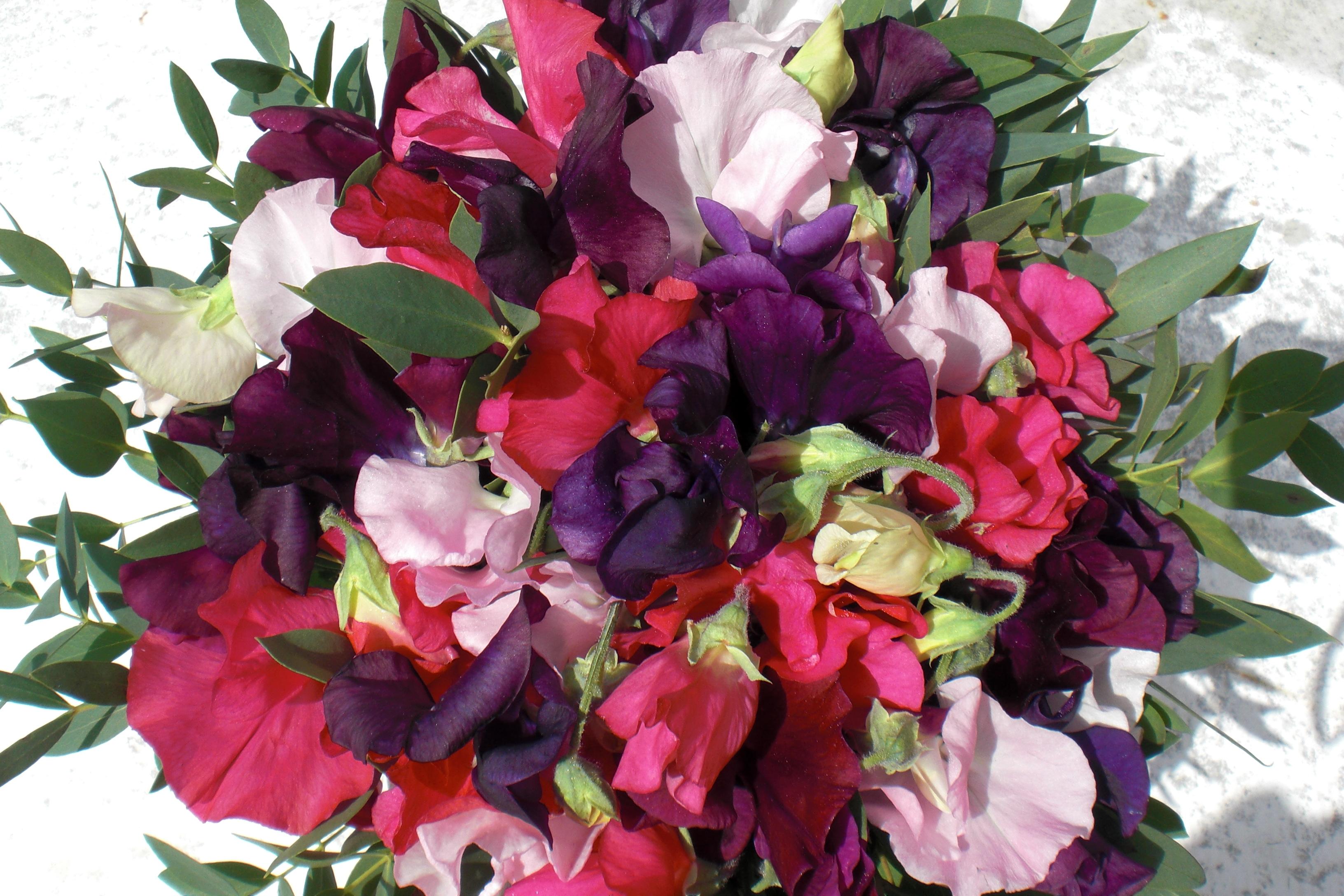 3. Brudebuket løsbundet af lathyrus i forskellige farver